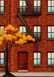 Fire escape of apartment building. Illustration Stock Photography