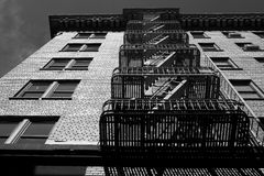 Fire Escape BW1. Black and white image of a fire escape on a brick building Stock Photos