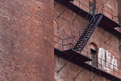 Fire Escape on Old Brick Building Stock Photography
