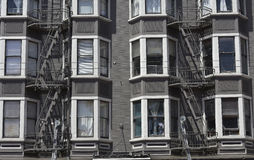 Fire escape in  San Francisco , building with windows and emerg Royalty Free Stock Image