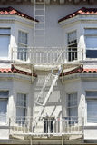 Fire escape in  San Francisco , building with windows and emerg Royalty Free Stock Photos