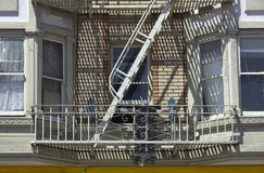 Fire escape in  San Francisco , building with windows and emerg Royalty Free Stock Photo