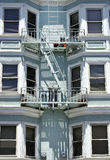 Fire escape in  San Francisco , building with windows and emerg Royalty Free Stock Images