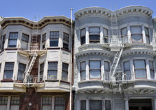Fire escape in  San Francisco , building with windows and emerg Stock Photography