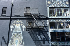 Fire escape in  San Francisco , building with windows and emerg Royalty Free Stock Photography