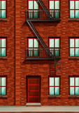 Fire escape on the side of apartment. Illustration Royalty Free Stock Photography