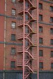 Fire escape stair. Old building fire escape stair royalty free stock photos