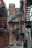 Fire Escape, Staircases, Old Buildings Montreal, Quebec, Canada Royalty Free Stock Photos