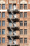 Fire escape stairs in usa Stock Photos