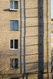 Fire escape on a wall of the brick multi storey building Royalty Free Stock Photo