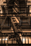 Fire escapes. Looking up a building at all the fire escapes Stock Images