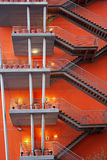Fire escapes. External fire escapes on an orange modern building Royalty Free Stock Images