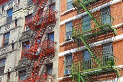 Fire escapes in Little Italy, New York Stock Photo