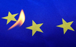 Fire euro flag. Eu, europe Stock Photography