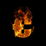 Fire euro sign. On a black background, eurocrisis Stock Photography