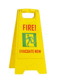 Fire evacuate now yellow sign Stock Image