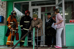 Fire evacuation at nursing home in Gomel region of the Republic of Belarus. In social institutions of Belarus, the emergencies Ministry regularly conducted Royalty Free Stock Image