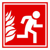 Fire evacuation sign. Fire evacuation red vector sign Royalty Free Stock Photo