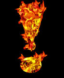 Fire exclamation sign. Fire letter exclamation mark on black background Stock Photos