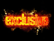 Fire Text Exclusive. Fire exclusive word text with burning flames Stock Images