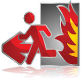Fire exit. Glossy illustration of a fire exit sign with a man running from an open flame Stock Photos