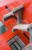 Fire Exit. Of a new modern red office building royalty free stock photo