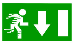 Fire Exit. Exit sign with man on fire Royalty Free Stock Photos