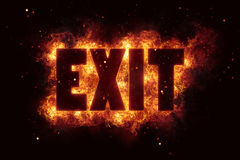 Fire exit burn flame flames text explode explosion. Hot Royalty Free Stock Image