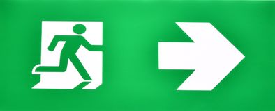 Fire exit doorway sign to escape from fire situation. As an illustrator work Stock Photography