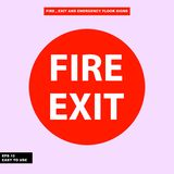 Fire exit and emergency sign in  syle version, easy to use and print. Sign and symbol for office and factory worker, attention the rule Stock Photo