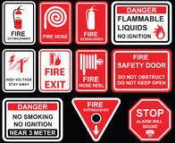 Fire exit, Fire extinguisher, fire hose reel, high voltage stay. Away, fire safety door do not obstruct, stop alarm will sound and danger no smoking , no Royalty Free Stock Photography