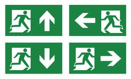 Fire exit icon set. On white background Stock Photography