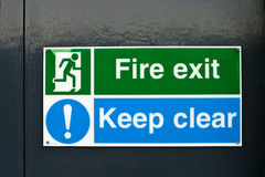 Fire exit Keep clear sign Royalty Free Stock Photography