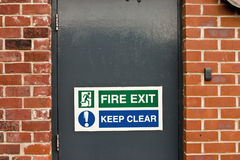 Fire exit Keep clear sign Royalty Free Stock Photos