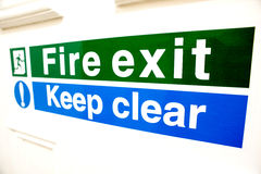 Fire exit keep clear sign Stock Photo