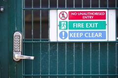 Free Fire Exit Keep Clear Sign On Construction Building Site Door Stock Image - 198581881