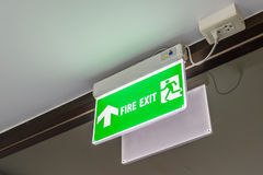 Fire exit light sign Stock Photo