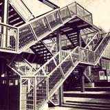 Fire exit metal staircase Stock Images