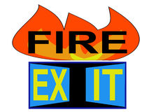 Fire exit sign. With pictogram of flames and doorway Royalty Free Stock Photography
