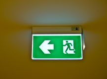 Fire exit sign. In building Stock Photos