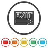 Fire exit sign, Emergency exit, 6 Colors Included. Simple vector icons set Royalty Free Stock Image