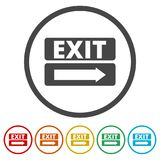 Fire exit sign, Emergency exit, 6 Colors Included. Simple vector icons set Royalty Free Stock Photography