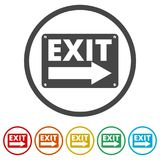 Fire exit sign, Emergency exit, 6 Colors Included. Simple vector icons set Stock Images