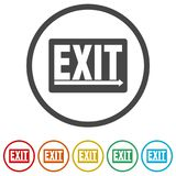 Fire exit sign, Emergency exit, 6 Colors Included. Simple vector icons set Royalty Free Stock Photo