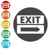 Fire exit sign, Emergency exit. Simple  icons set Stock Photos