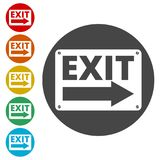 Fire exit sign, Emergency exit. Simple vector icons set Stock Photo