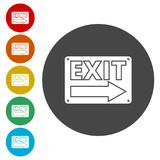 Fire exit sign, Emergency exit. Simple vector icons set Stock Images