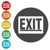 Fire exit sign, Emergency exit. Simple vector icons set Royalty Free Stock Photos