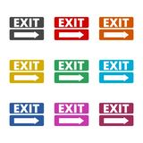 Fire exit sign icon, Emergency exit, color icons set. Simple vector icon Stock Photography