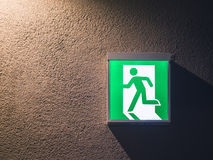 Fire Exit Sign Light box on wall Building Safety s. Fire Exit Sign Light box on wall with lighting Building Safety signage Royalty Free Stock Photography